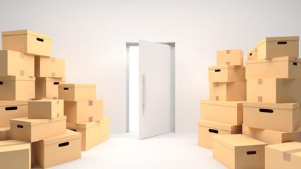 Cardboard boxes on floor in white room and open door. 3D Rendering.