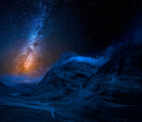 Milky way and mountains in the Glencoe, Scotland