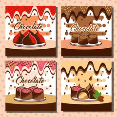 chocolate set sweet delicious bar candy vector illustration