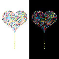 Изображение сердца на белом и чёрном фоне с абстрактным рисунком из полос, треугольников, квадратов и кругов.