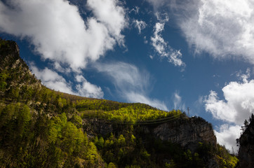 Landscape in the Maritime Alps with a sky with clouds.