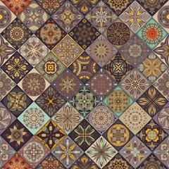 Seamless pattern with decorative mandalas. Vintage mandala elements.