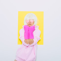 Tomboy Doll Blonde Girl in Fashion pink accessory sunglasses, hoodie and shorts. Club Party Style. Synth wave vibes