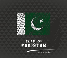 Pakistan flag, vector sketch hand drawn illustration on dark grunge background