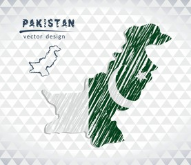 Map of Pakistan with hand drawn sketch pen map inside. Vector illustration
