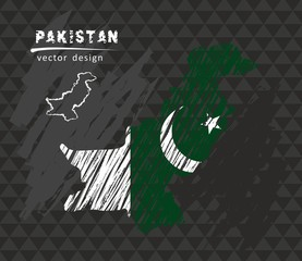 Pakistan national vector map with sketch chalk flag. Sketch chalk hand drawn illustration