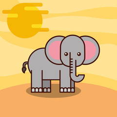 elephant cartoon wildlife animal african vector illustration