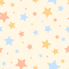 Pastel colored simple stars cute childish seamless pattern, vector