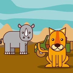 rhino and tiger jeep car safari animals cartoon vector illustration