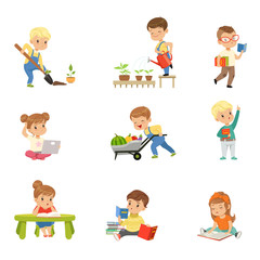 Adorable little kids reading books and working in the garden set, cute preschool children learning, studying and gardening vector Illustrations on a white background
