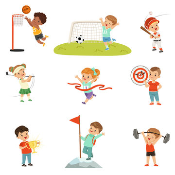 Cute little children playing different sports, footbal, soccer, golf, basketball, baseball, archery, mountaineering sport vector Illustrations on a white background