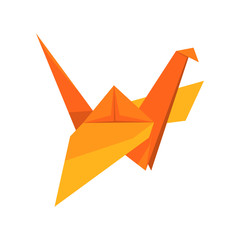Orange crane bird made of paper in origami technique vector Illustration on a white background