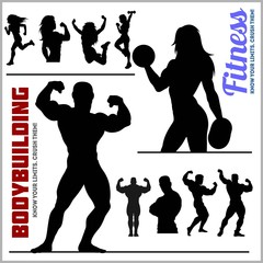 Silhouettes of Bodybuilders and Fitness Girls - Gym Vector Icon Set