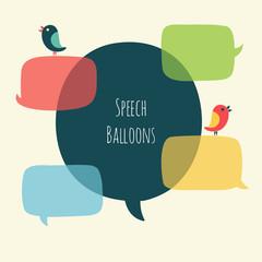 Vector set of speech bubble with bird