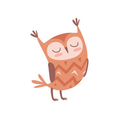 Cute cartoon owlet bird character standing with closed eyes vector Illustration on a white background
