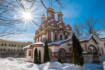 Church of Saint Nicholas on Bersenevka Street, architectural monument of the Russian traditional ornamental style of the17th century. Moscow. Russia.