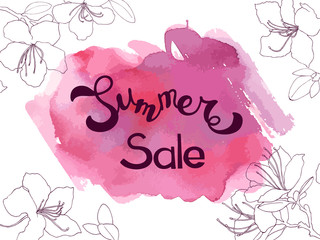 Lettering summer sale on pink abstract watercolor texture with line sketch flowers. Template for Summer, invitation, greeting card, web, postcard. Vector illustration with text for design