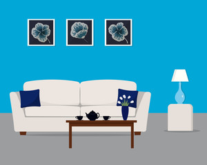 Living room in a turquoise color. There is a white sofa with pillows, a table with flowers, a lamp and other objects in the image. There are also pictures in frames on the wall. Vector illustration.