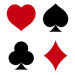 Suit of playing cards. Hearts, Spades, Clubs, Diamonds. Vector illustration on white background.