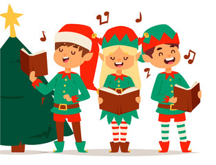 Santa Claus elf kids cartoon elf helpers vector christmas illustration children elves characters traditional costume
