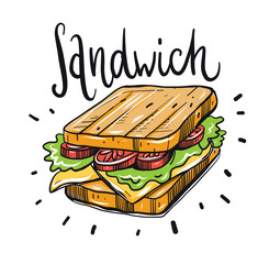Ham and vegetable sandwich vector illustration.