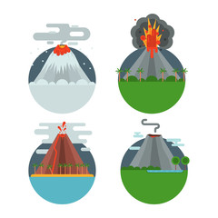 Volcano magma vector nature blowing up with smoke crater volcanic mountain hot natural eruption earthquake illustration.