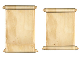 Two old parchments. Isolated on white background