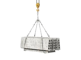 reinforced concrete block on the crane 3d illustration