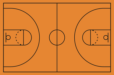 Basketball court floor with line on background. Vector illustration.