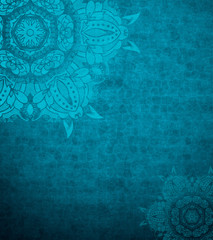 Mandala background. Blue oriental vertical background. Vintage decorative textured graphic with place for your text. Background for book or magazine cover. Ramadan card design. Islamic pattern design.