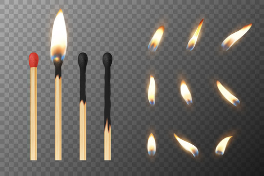 Vector 3d realistic match stick and different flame icon set, closeup isolated on transparency grid background. Whole and burnt matchstick. Stages of burning the match. Symbol of ignition, burning and