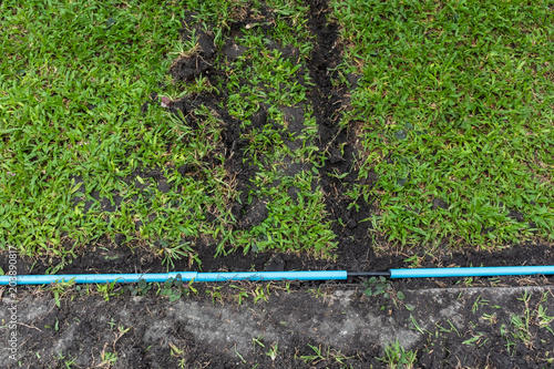 Fantastic Installation Of Electric Wire Or Cable On Ground Blue Plastic Pipe Wiring 101 Nizathateforg