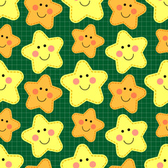 Cute seamless pattern with smiling cartoon characters of stars ideal for baby shower, birthday and party