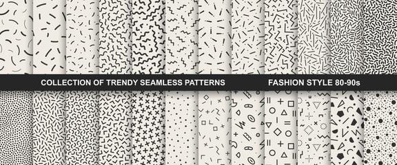 Collection of memphis seamless patterns. Fashion 80-90s. Wall mural