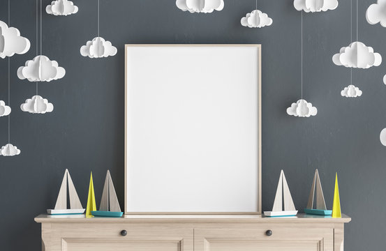 Mock up poster frame in children room, Scandinavian style interior background, 3D render