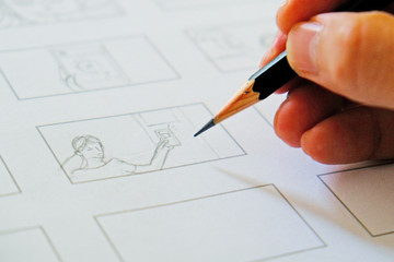 close-up hand drawing storyboard Wall mural