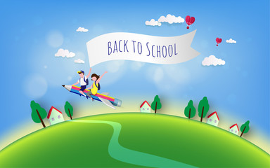Welcome back to school vector illustration. Education,  concept - elementary student boy and girl on pencil plane