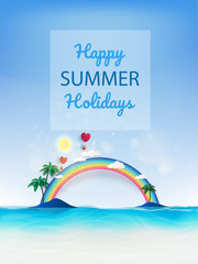 Summer beach vacation holidays time poster with tropical colorful background