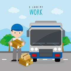 Freighter Service Delivery Carton Box Truck Car Boy Cartoon Character Vector