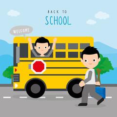 Back To School Bus Road Boy Children Student Cartoon Character Vector