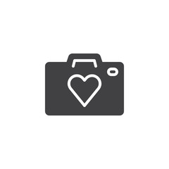 Heart camera vector icon. filled flat sign for mobile concept and web design. Photo camera with heart simple solid icon. Love photo symbol, logo illustration. Vector graphics