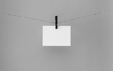 Blank, Paper, Sign, Peg, Twine, Thread, String, Paper, Desk, Wall, Hang, Sheet, Blank