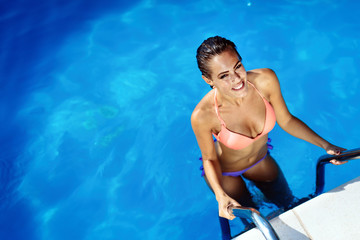 Young woman beauty portrait in water
