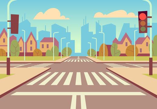 Cartoon city crossroads with traffic lights, sidewalk, crosswalk and urban landscape. Empty roads for car traffic vector illustration