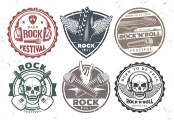 Retro Rock Music Stamps Set