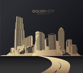Golden cityscape with skyscrapers.