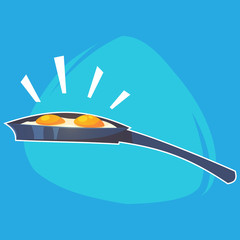 Cartoon Home Kitchen Pan with fried eggs Vector illustration