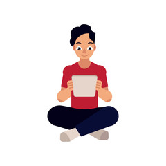 Online distant education concept with young man. Male student character sitting at floor reading on tablet computer. Vector cartoon illustration