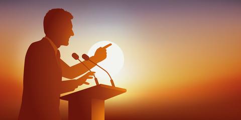 discours - pupitre - politique - leader - meeting - présentation - déclaration - élection - candidat - conférence