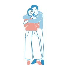 Young man and woman warmly hugging or cuddling. Boy standing behind girl and embracing her. Cute male and female cartoon characters in love. Romantic couple on date. Colored vector illustration.